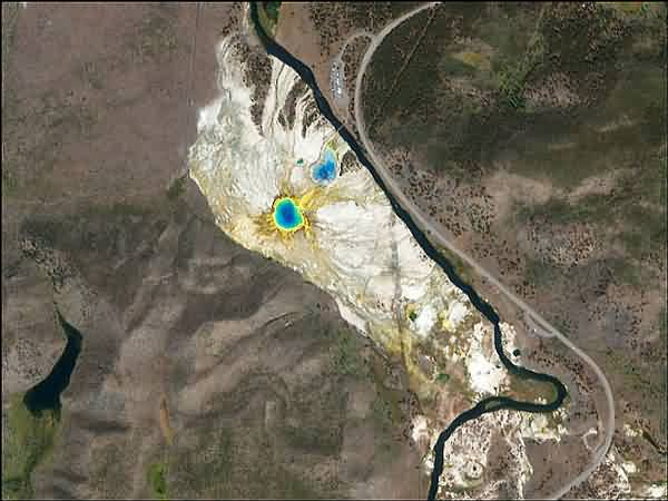 Grand Prismatic Spring - Satellite Image