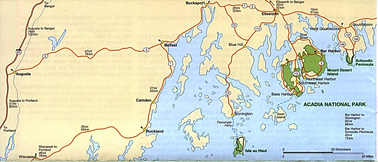 Acadia National Park Area Map