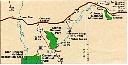 Arches National Park Area Map