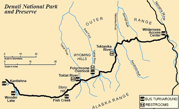 Denali National Park Shuttle Bus Map
