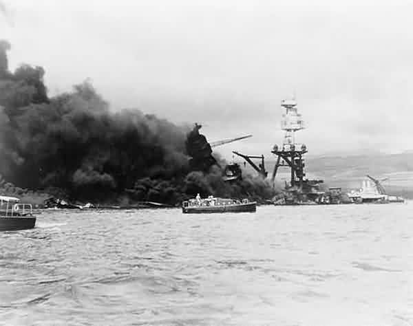 USS Arizona on Fire
